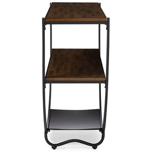 Baxton Studio Blakes Rustic Industrial Style Antique Black Textured Finish Metal Distressed Wood Console Table Baxton Studio-side tables-Minimal And Modern - 3