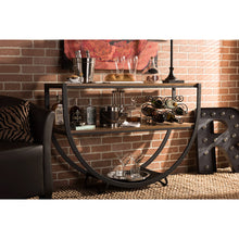 Baxton Studio Blakes Rustic Industrial Style Antique Black Textured Finish Metal Distressed Wood Console Table Baxton Studio-side tables-Minimal And Modern - 4