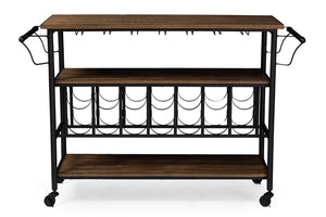 Baxton Studio Bradford Rustic Industrial Style Antique Black Textured Finish Metal Distressed Wood Mobile Kitchen Bar Serving Wine Cart Baxton Studio-Trolleys and Carts-Minimal And Modern - 1