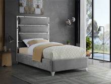 Meridian Furniture Zuma Grey Velvet Twin Bed