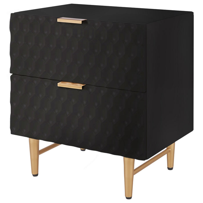 Reggie 2-Drawer Geometric Side Table by New Pacific Direct - 2100037