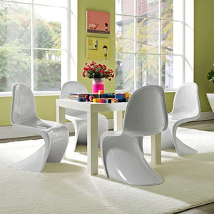 Modway Furniture Modern Slither Kids Chair Set of 4 In White EEI-1253-WHI-Minimal & Modern