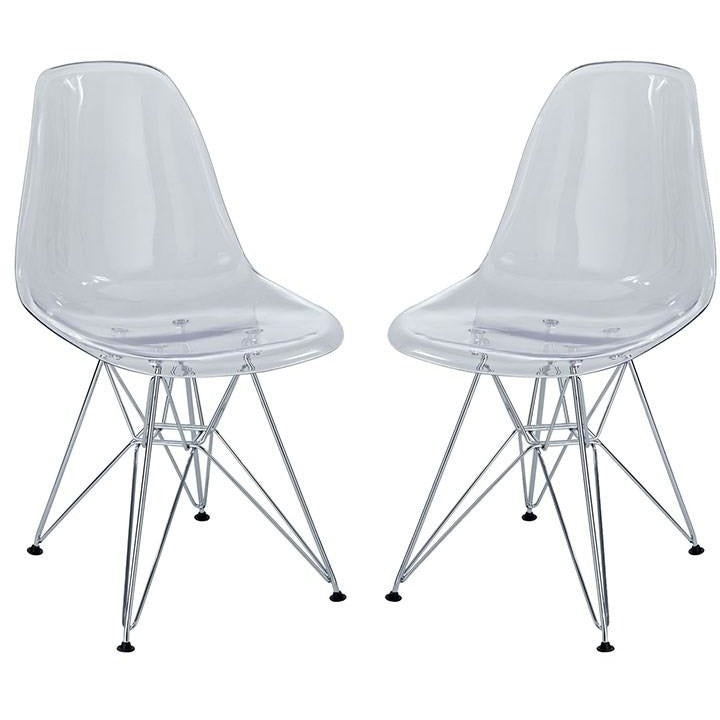 Modway Furniture Modern Paris Dining Side Chair Set of 2 In Clear EEI-1261-CLR-Minimal & Modern