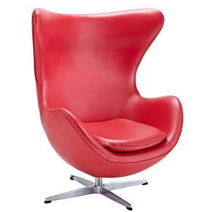 Modway Furniture Modern Glove Leather Lounge Chair and Ottoman-Minimal & Modern