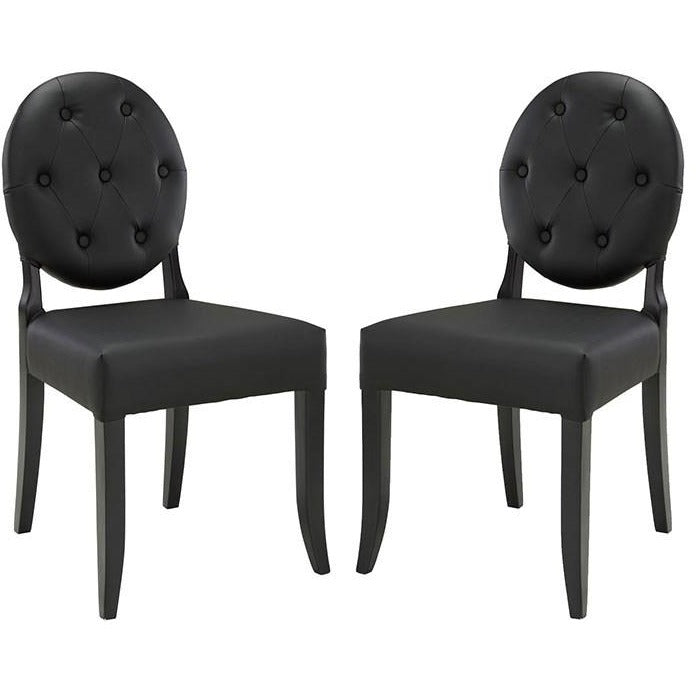 Modway Furniture Modern Button Dining Side Chair Set of 2 In Black EEI-1279-BLK-Minimal & Modern