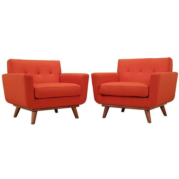 Modway Furniture Modern Engage Armchair Wood Set of 2-Minimal & Modern