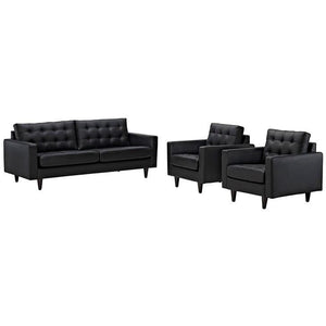 Modway Furniture Modern Empress Leather Sofa and Armchairs Set of 3-Minimal & Modern