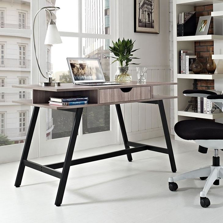 Modway Furniture Modern Turnabout Office Desk in Birch EEI-1324-BIR-Minimal & Modern