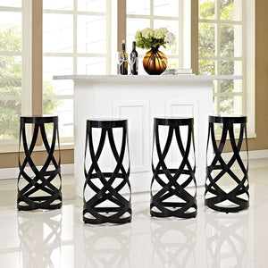 Modway Furniture Modern Ribbon Bar Stool Set of 4-Minimal & Modern