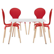 Modway Furniture Modern Path Dining Chairs and Table Set of 5-Minimal & Modern