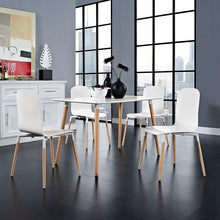 Modway Furniture Modern Stack Dining Chairs and Table Wood Set of 5-Minimal & Modern
