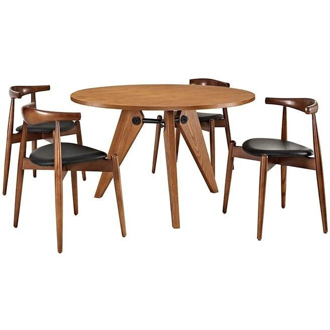 Modway Furniture Modern Stalwart Dining Chairs and Table Set of 5 In Dark Walnut Black EEI-1379-WAL-DWL-BLK-Minimal & Modern
