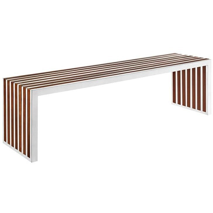 Modway Furniture Modern Gridiron Large Wood Inlay Bench In Walnut EEI-1430-WAL-Minimal & Modern