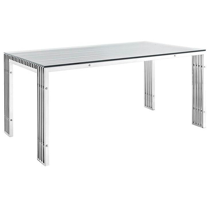 Modway Furniture Modern Gridiron Stainless Steel Dining Table In Silver EEI-1434-SLV-Minimal & Modern