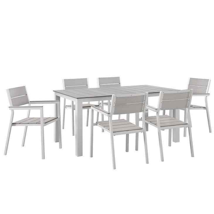 Modway Furniture Modern Maine 7 Piece Outdoor Patio Dining Set-Minimal & Modern