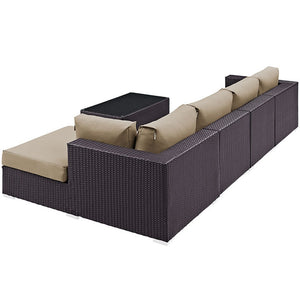 Modway Furniture Modern Convene 5 Piece Outdoor Patio Sectional Set-Minimal & Modern