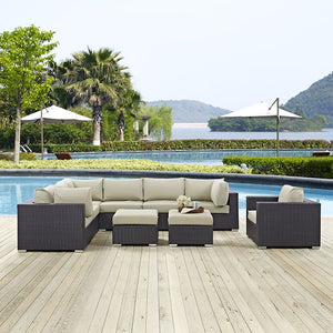 Modway Furniture Modern Convene 9 Piece Outdoor Patio Sectional Set-Minimal & Modern