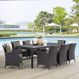 Modway Furniture Modern Convene 9 Piece Outdoor Patio Dining Set-Minimal & Modern
