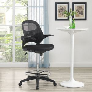 Modway Furniture Modern Advance Drafting Stool in Black EEI-2290-BLK-Minimal & Modern