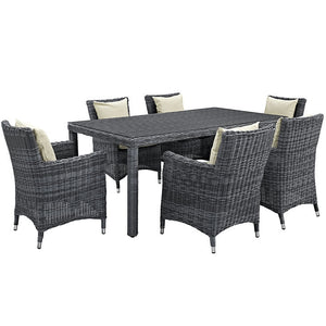 Modway Furniture Modern Summon 7 Piece Outdoor Patio Sunbrella® Dining Set-Minimal & Modern