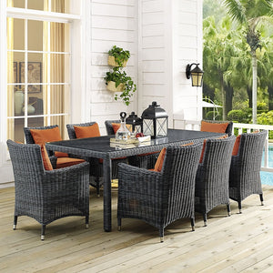 Modway Furniture Modern Summon 9 Piece Outdoor Patio Sunbrella® Dining Set-Minimal & Modern