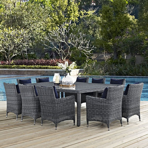 Modway Furniture Modern Summon 11 Piece Outdoor Patio Sunbrella® Dining Set-Minimal & Modern