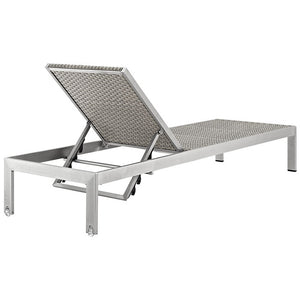 Modway Furniture Modern Shore 2 Piece Outdoor Patio Set Outdoor Patio In Silver Gray EEI-2475-SLV-GRY-SET-Minimal & Modern
