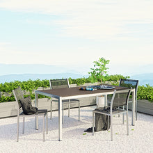 Modway Furniture Modern Shore 5 Piece Outdoor Patio Aluminum Dining Set In Silver Black EEI-2482-SLV-BLK-SET-Minimal & Modern
