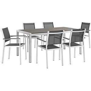 Modway Furniture Modern Shore 7 Piece Outdoor Patio Aluminum Dining Set In Silver Black EEI-2486-SLV-BLK-SET-Minimal & Modern