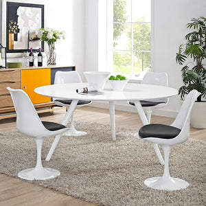 "Modway Furniture Modern Lippa 60"" Wood Top Dining Table with Tripod Base In White EEI-2525-WHI-Minimal & Modern"