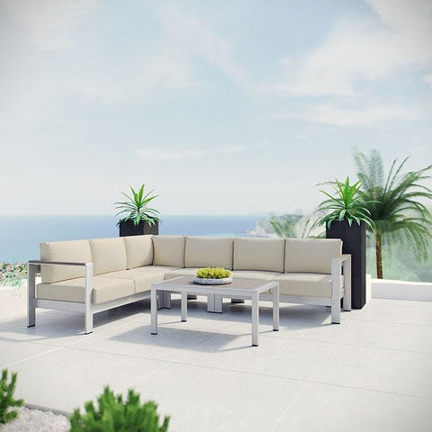 Modway Furniture Modern Shore 5 Piece Outdoor Patio Aluminum Sectional Sofa Set