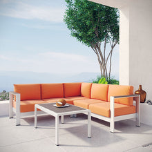 Modway Furniture Modern Shore 4 Piece Outdoor Patio Aluminum Sectional Sofa Set-Minimal & Modern