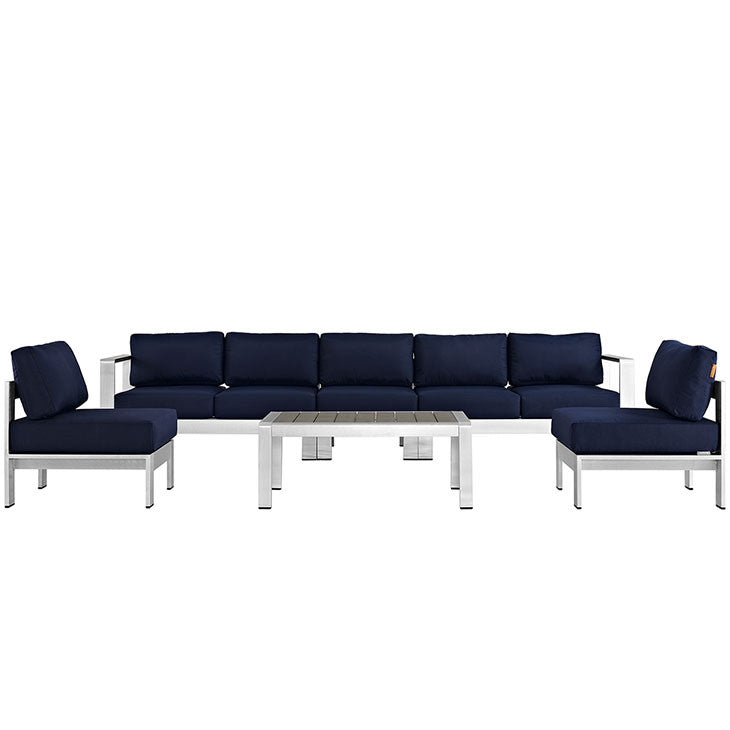 Modway Furniture Modern Shore 6 Piece Outdoor Patio Aluminum Sectional Sofa Set-Minimal & Modern