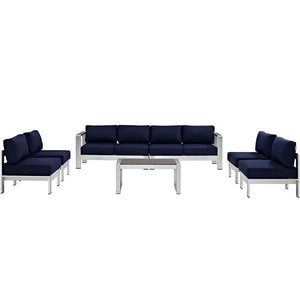 Modway Furniture Modern Shore 7 Piece Outdoor Patio Sectional Sofa Set-Minimal & Modern