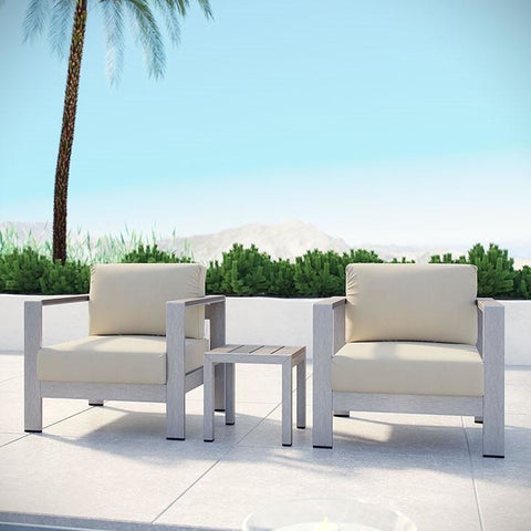 Modway Furniture Modern Shore 3 Piece Outdoor Patio Aluminum Sectional Sofa Set