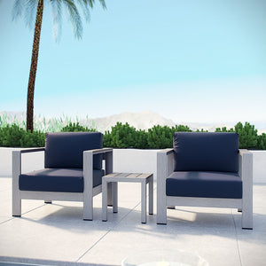 Modway Furniture Modern Shore 3 Piece Outdoor Patio Aluminum Sectional Sofa Set-Minimal & Modern