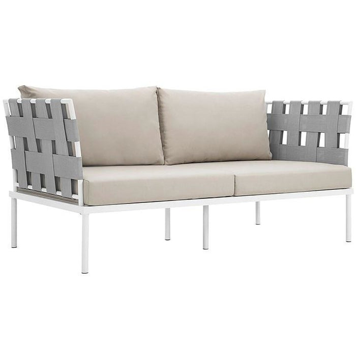 Modway Furniture Modern Harmony Outdoor Patio Aluminum Loveseat-Minimal & Modern