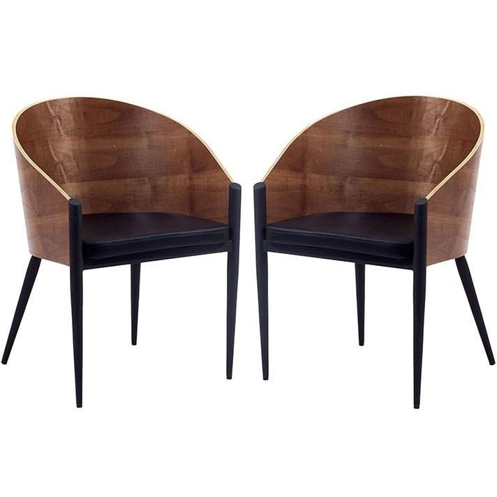 Modway Furniture Modern Cooper Dining Chairs Set of 2 In Walnut EEI-915-WAL-Minimal & Modern