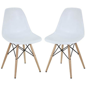 Modway Furniture Modern Pyramid Dining Side Chairs Set of 2 In White EEI-928-WHI-Minimal & Modern