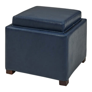Cameron Square Bonded Leather Storage Ottoman by New Pacific Direct - 113042B(V1)