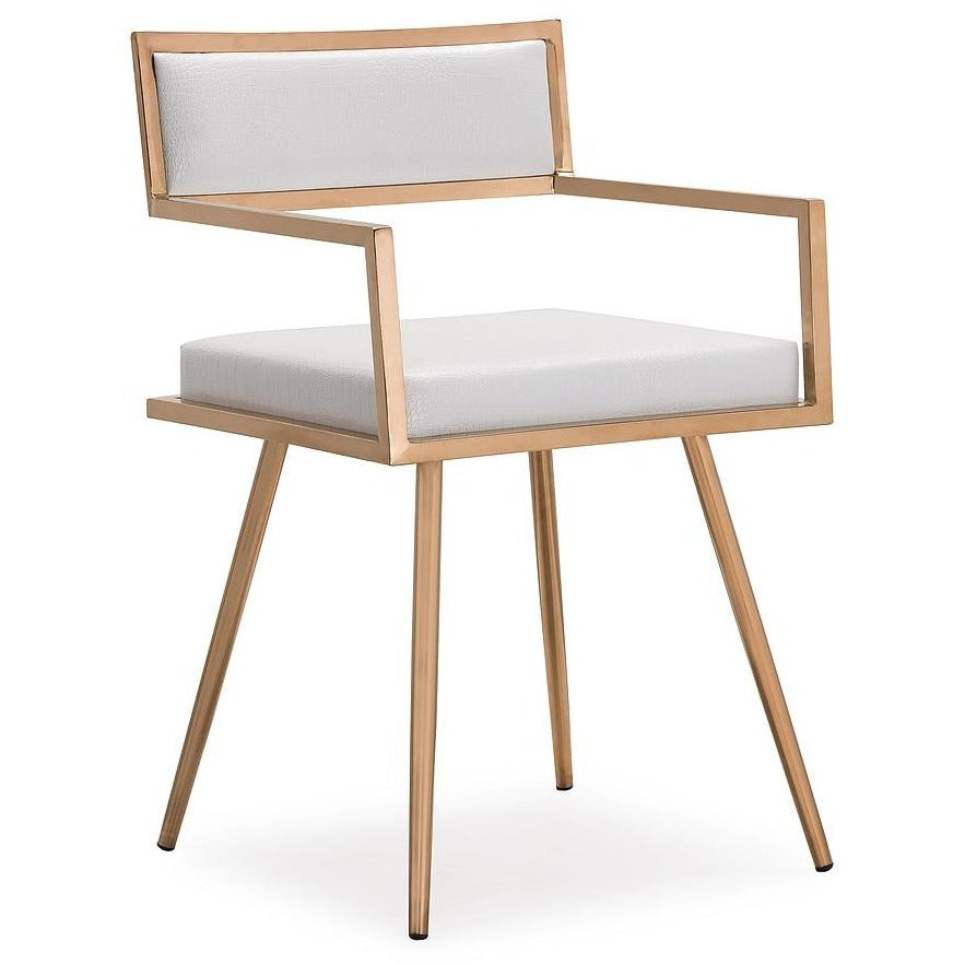 TOV Furniture Modern Marquee White Croc Arm Chair - Set of 2 TOV-G5460-Minimal & Modern