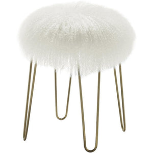 TOV Furniture Modern Zelda White Sheepskin Bench TOV-O34-Minimal & Modern