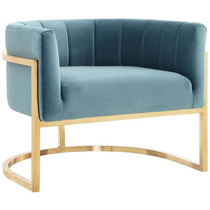 TOV Furniture Modern Magnolia Sea Blue Chair with Gold Base TOV-A144-Minimal & Modern