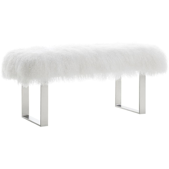 TOV Furniture Modern Sherpa Sheepskin Bench with Silver Base TOV-O92-Minimal & Modern