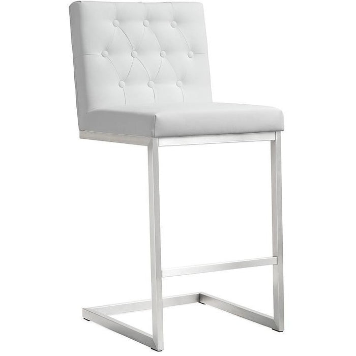 TOV Furniture Modern Helsinki White Steel Counter Stool - Set of 2 TOV-K3640-Minimal & Modern