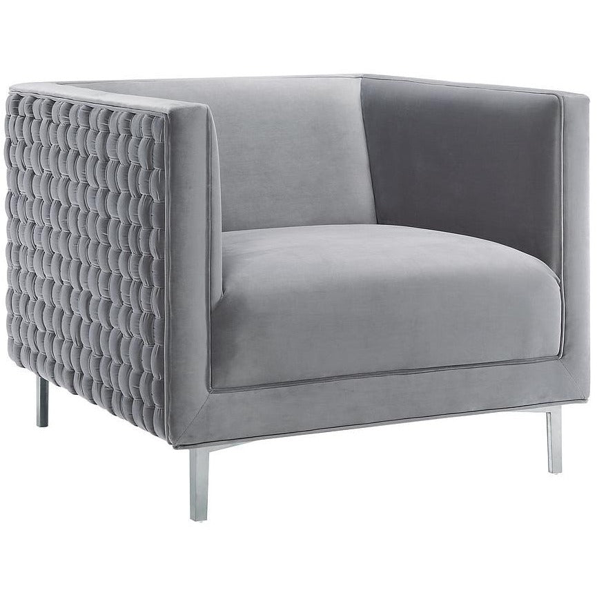 TOV Furniture Modern Sal Grey Woven Chair TOV-A160-Minimal & Modern