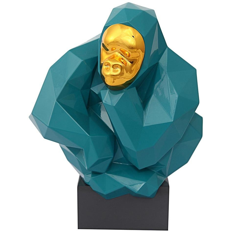 TOV Furniture Modern Pondering Ape Large Sculpture - Green and Gold TOV-C6608-Minimal & Modern
