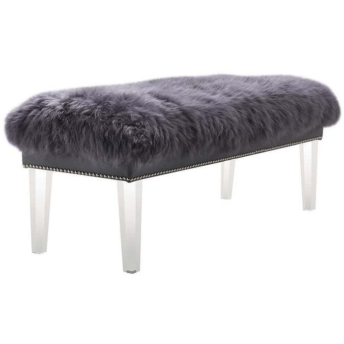 TOV Furniture Modern Luxe Grey Sheepskin Lucite Bench TOV-O76-Minimal & Modern