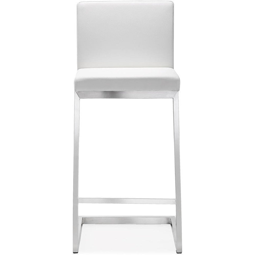 TOV Furniture Modern Parma White Steel Counter Stool - Set of 2 TOV-K3605-Minimal & Modern