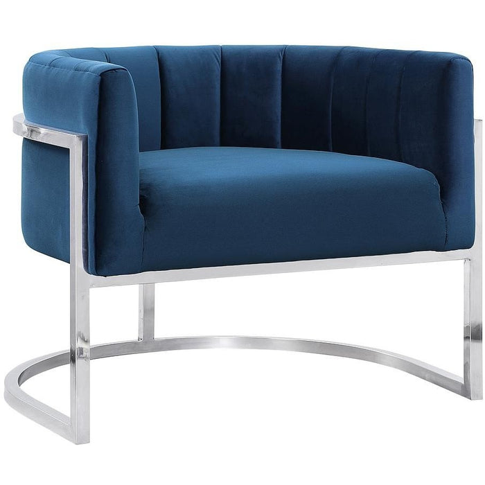 TOV Furniture Modern Magnolia Navy Chair with Silver Base TOV-A148-Minimal & Modern